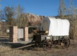 Bluff Fort -- Bluff Fort wagon adjacent to the monument. Lamont Crabtree Photo