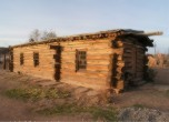 Bluff Fort -- Restored log meetinghouse, northeast corner. Lamont Crabtree Photo
