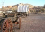 Bluff Fort -- A collection of covered wagons adds to the pioneer atmosphere at the Bluff Fort Historic Site. Lamont Crabtree Photo